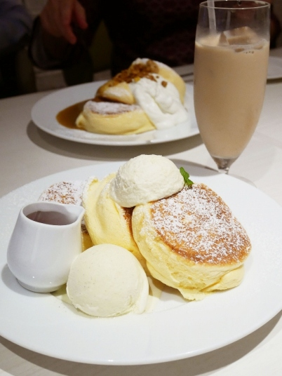 Original pancakes with a scoop of ice cream