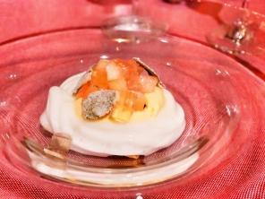 Mint espuma, pastry cream, raspberry sorbet, Kagawa peach