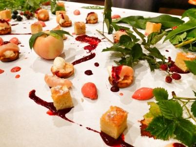 Peach dessert table - peach tart, peach pound cake, peach sorbet, raspberry sorbet and fresh peach