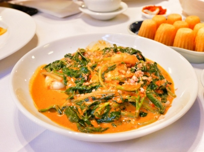 Kangkong cha Belachan (Water convolvulus fried with shrimp paste) - $16.00++