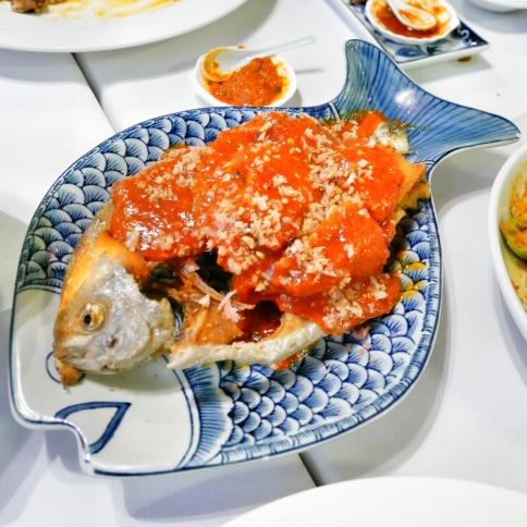 Ikan Bawair Goreng Sambair (Fried promfret in spicy paste) - $28++