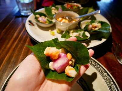 Betel Leaf Wrapped with Herbal Condiments and Shrimp in Sweet Clear Sauce ฿180