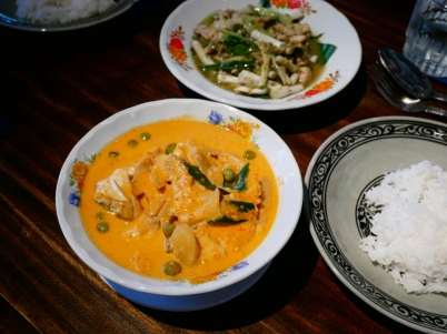 Red Curry with White Turmeric and Barracuda Fish ฿220 Stir Fried Chicken Thigh ฿190
