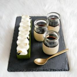 Matcha Terrine and Houjicha Pudding